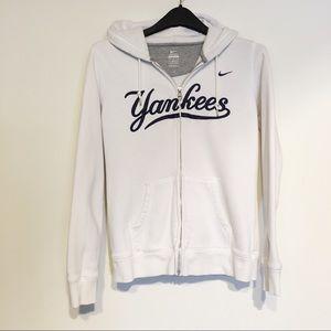 Nike Yankee Full Zip White Hooded Sweatshirt Lg